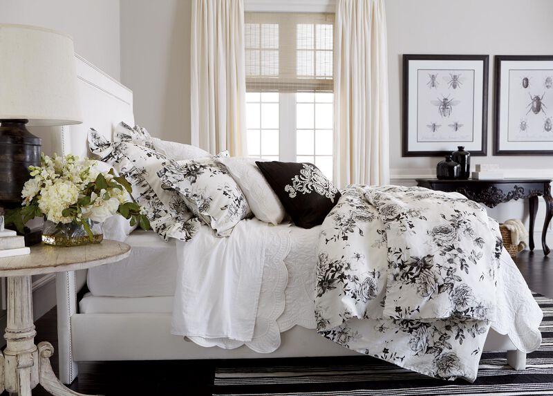 Ava Rose Linen Duvet Cover and Dominique White Quilt ,  , large_gray