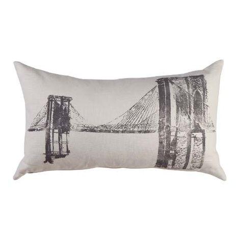 Brooklyn Bridge Block-Printed Pillow ,  , large