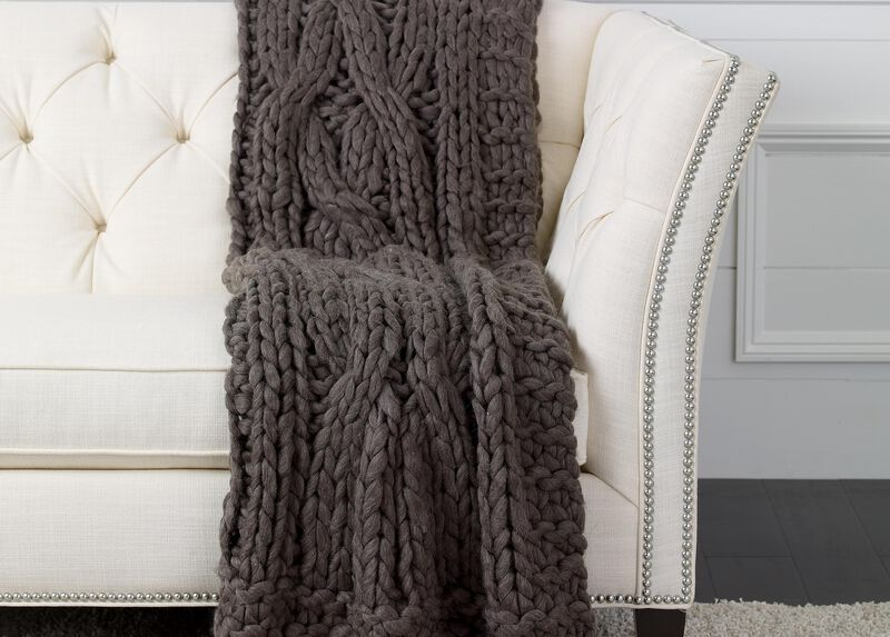 Cross Cable Knit Throw, Dark Brown ,  , large_gray
