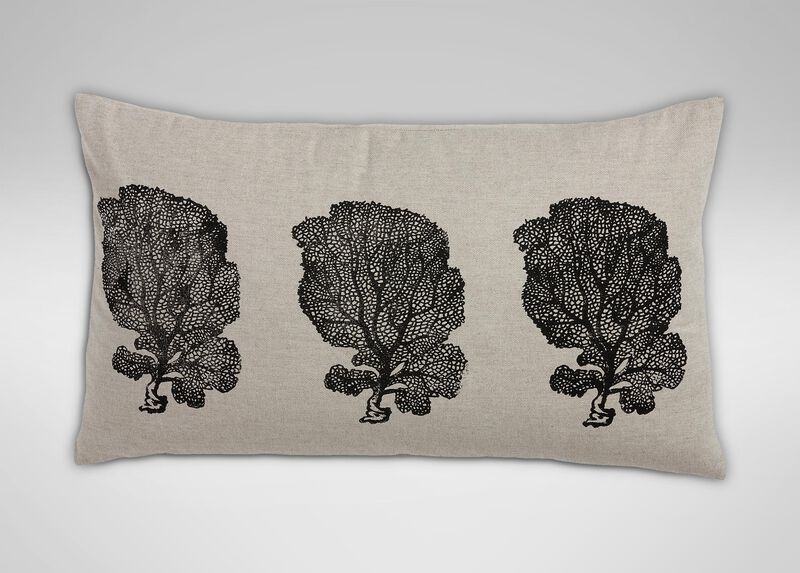 Block-Printed Fan Coral Pillow, Natural/Black ,  , large_gray