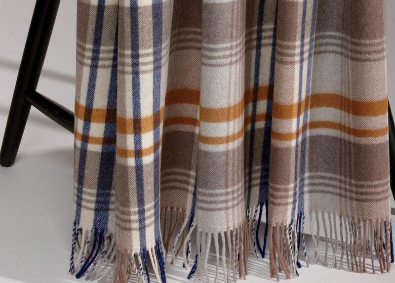 Merino Wool Plaid Throw, Spice ,  , large_gray