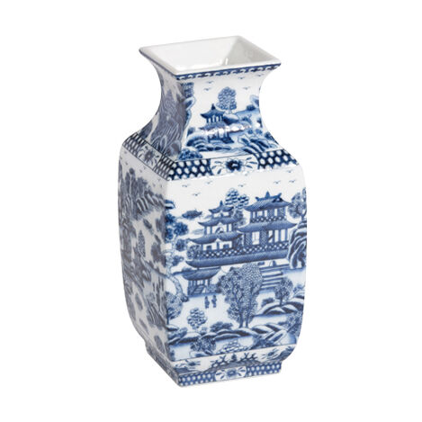 Blue and White Square Vase ,  , large