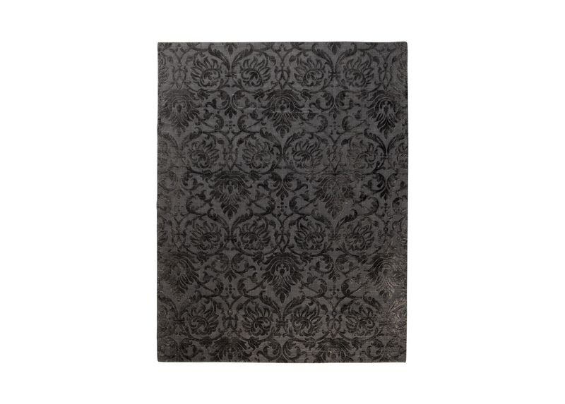 Jacquard Damask Rug, Charcoal ,  , large_gray