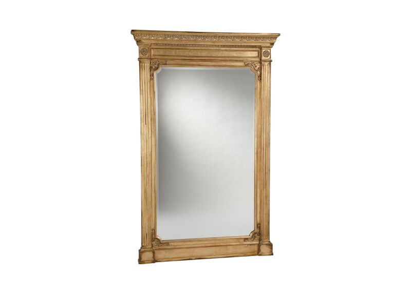 Antique gold madeleine trumeau floor mirror mirrors for Large gold floor mirror