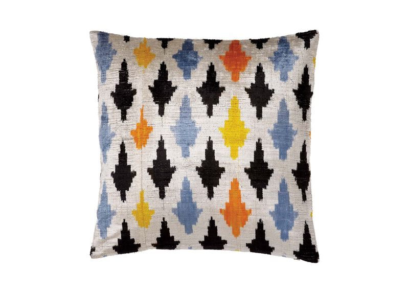 Silk Velvet Pillow, Taupe/Multi ,  , large_gray
