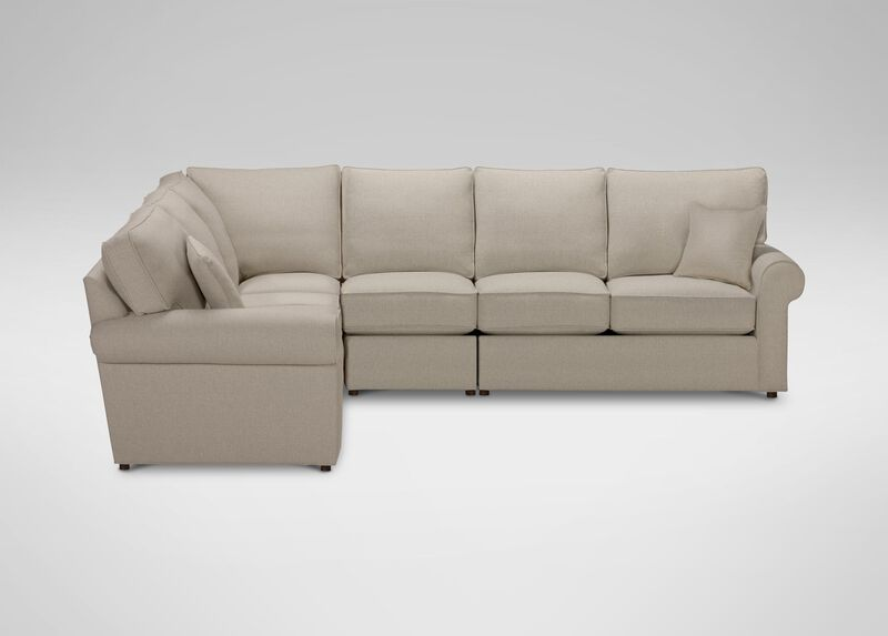 Retreat Roll-Arm Four Piece Sectional, Quick Ship , Palmer Pearl (Q3039), chenille , large_gray