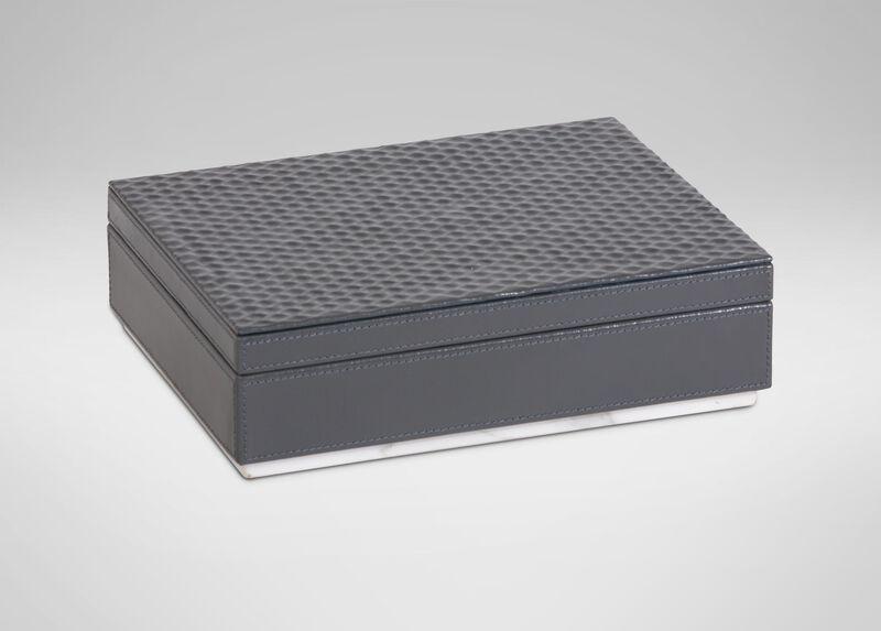 Impressed Leather Box, Gray ,  , large_gray