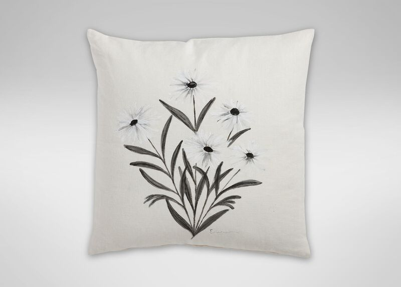 Hand painted white daisy pillow pillows for Hand painted pillows