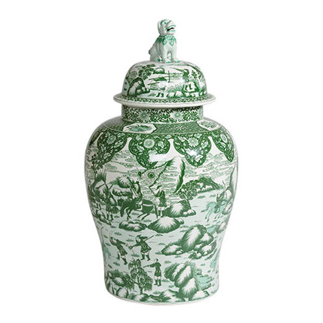 Green and White Foo Dog Jar ,  , large