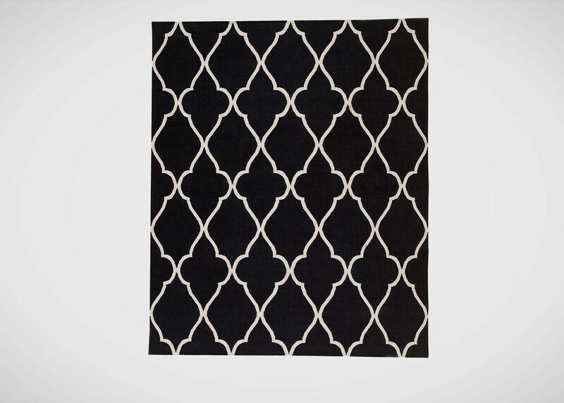 Fretwork Dhurrie Rug, Black ,  , large_gray