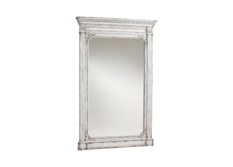 Antique White Madeleine Trumeau Floor Mirror ,  , large_gray