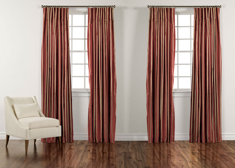 "100"" Chinois Red and Gold Taffeta Stripe Inverted Pleat Panel ,  , large_gray"