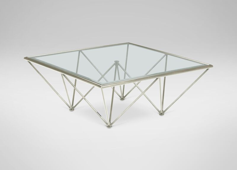 Kestral Square Coffee Table, Polished Steel at Ethan Allen in Ormond Beach, FL | Tuggl