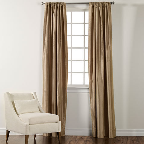 champagne satin dupioni rodpocket panel large - Silk Drapes