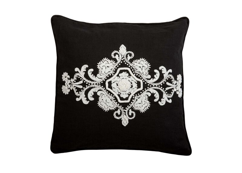 Embroidered Scroll on Black Linen Pillow ,  , large_gray