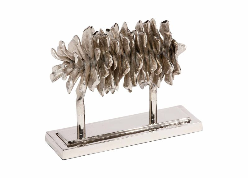 Nickel Pine Cone on Stand ,  , large_gray