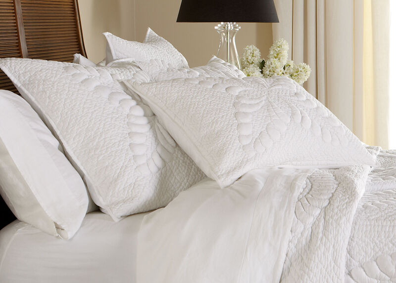 White Trapunto Quilted Sham ,  , large_gray