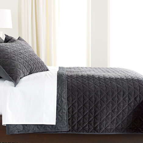 Gresham Full/Queen Charcoal Velvet Coverlet ,  , large