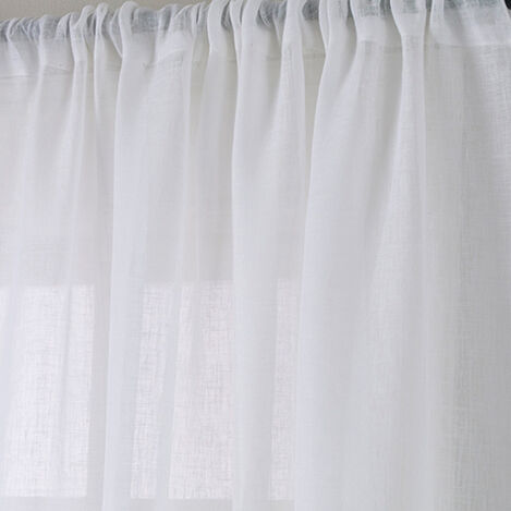 White Linen Sheer Rod-Pocket Panel ,  , large