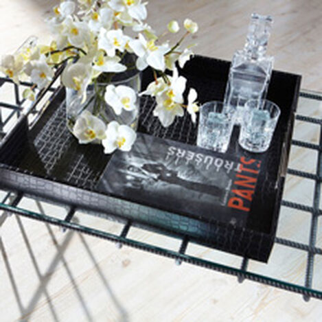 Square Black Leather Tray ,  , hover_image