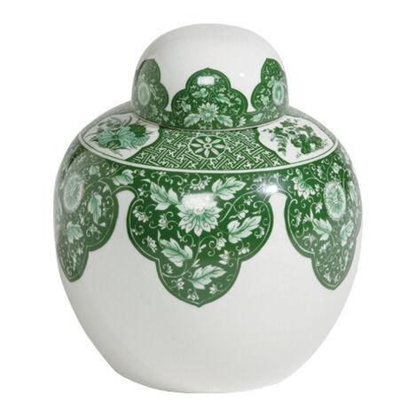 Green Round Lidded Jar ,  , large