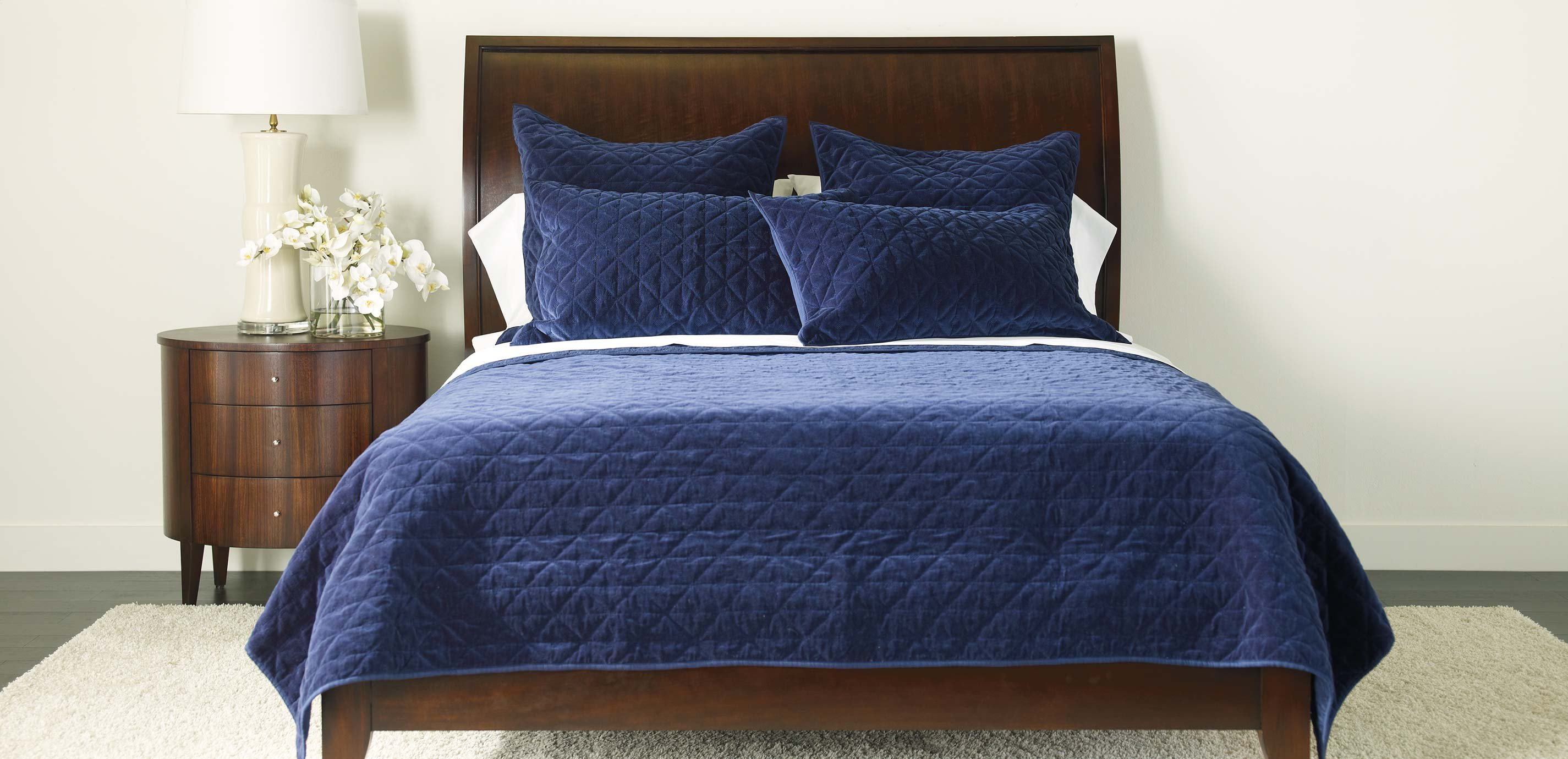 Gray Velvet Coverlet : Gresham navy velvet coverlet and shams quilts comforters