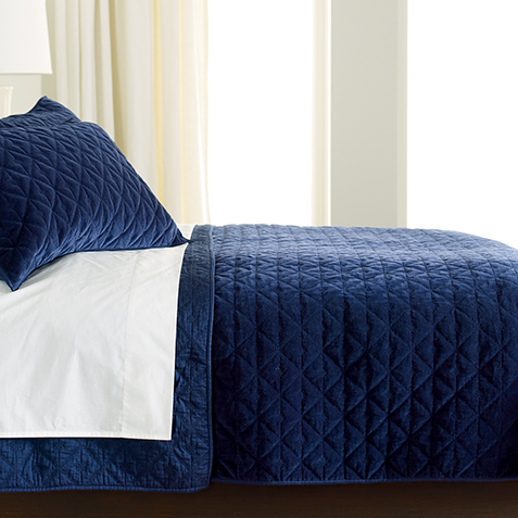 Gresham Navy Velvet Coverlet ,  , large