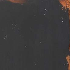 Aged Ember (305): Black paint, highly worn edges show stained wood below, overall glazing, high sheen.
