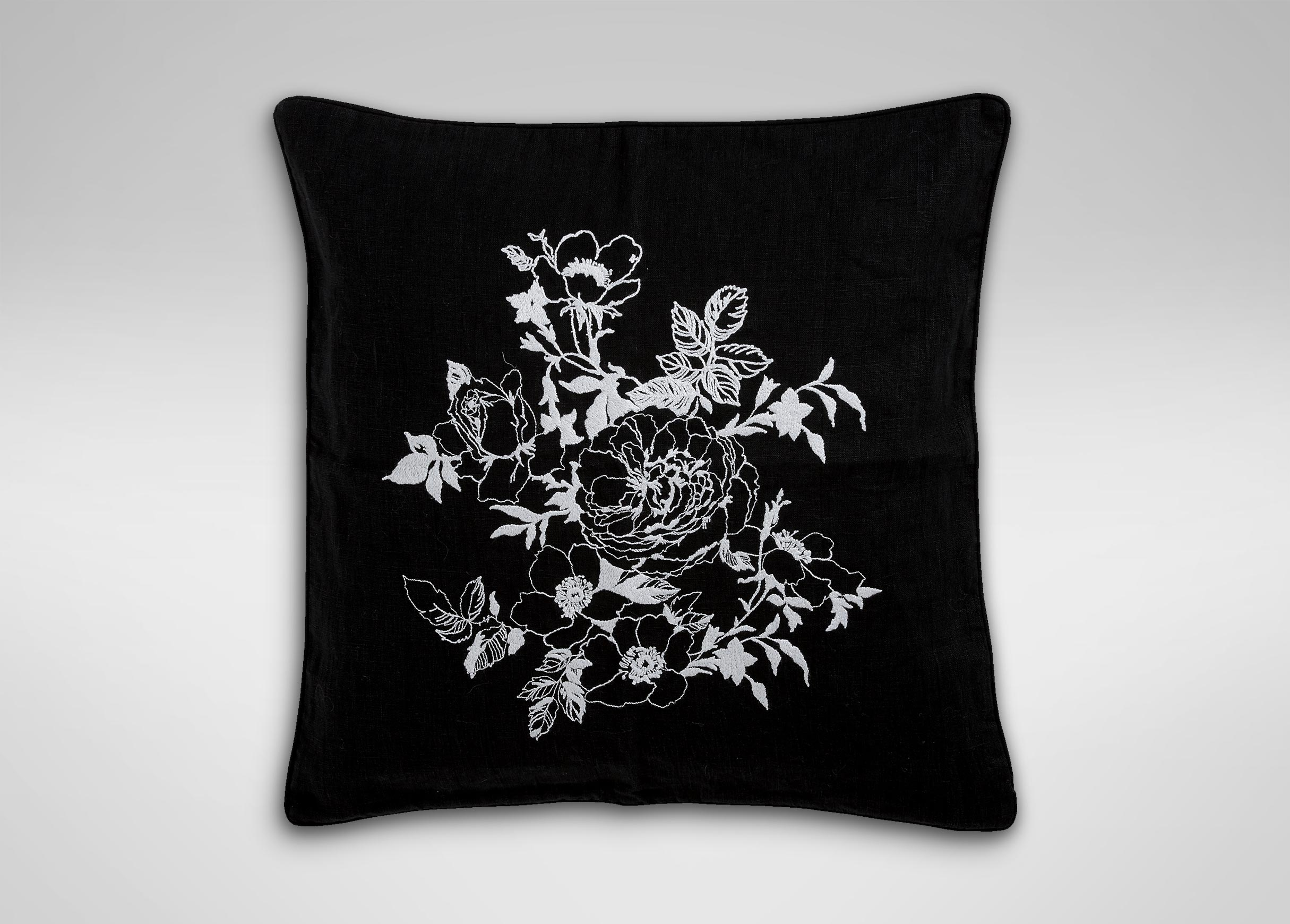 Black And White Floral Embroidered Linen Pillow