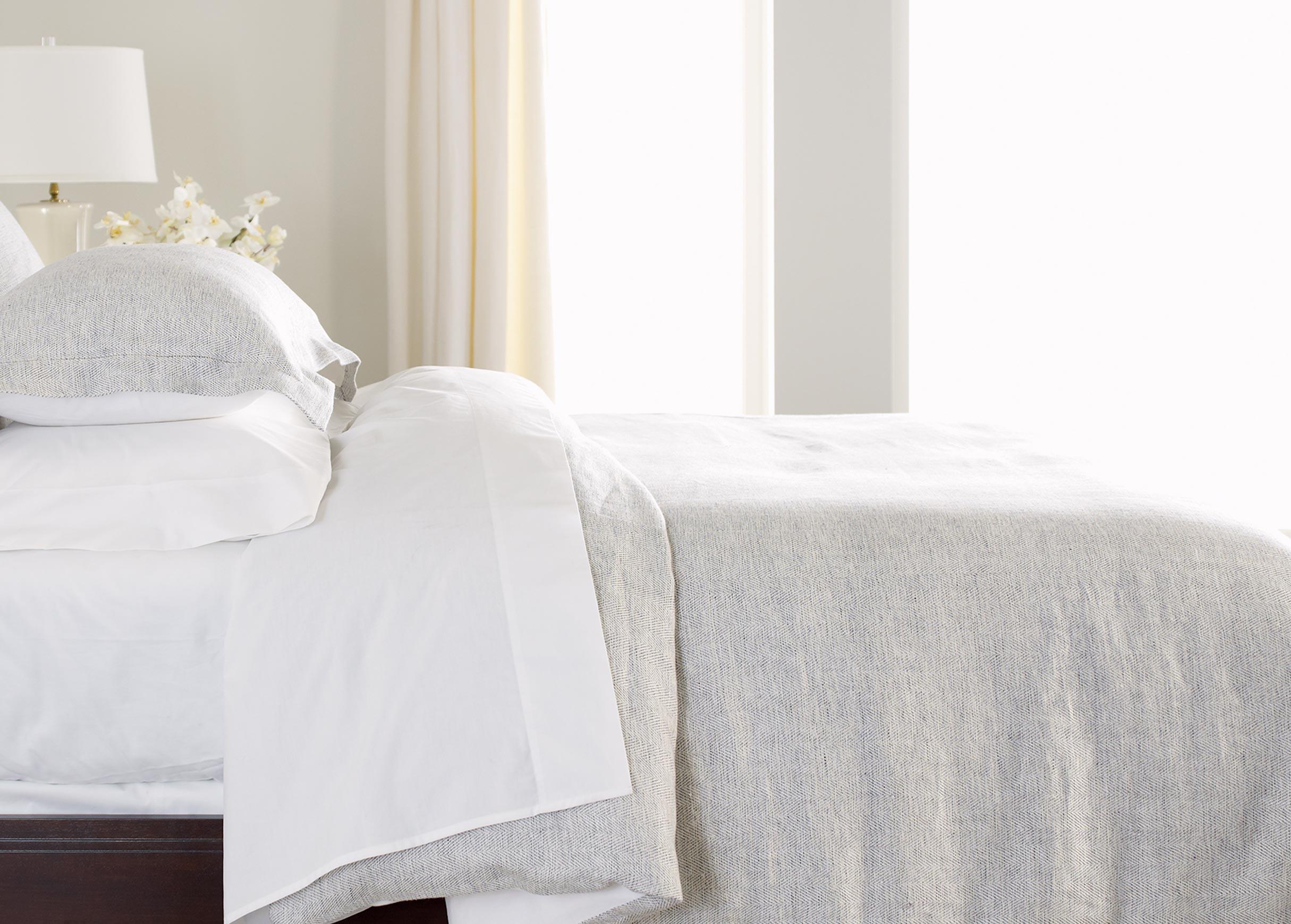 Gray Herringbone Coverlet : Stillwell herringbone duvet cover bedding ethan allen