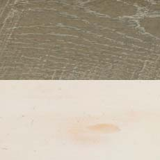 Rough-sawn Dakota / Vintage Cotton (209/614): Transparent gray stain, rough sawn, hand-distressed, low sheen./White paint with amber glaze, transparent spatter stain, heavily distressed, hand-padded and dry-brushed for highly worn antiqued effect.