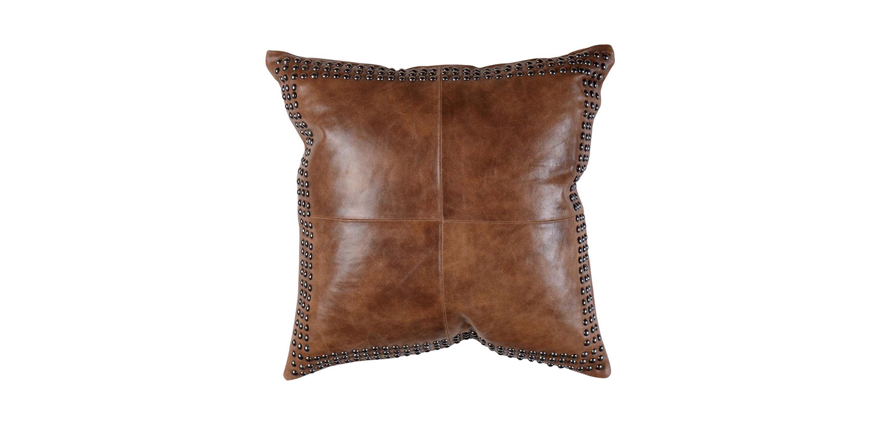 Leather Floor Pillows Cushions : Brown Worn Leather Pillow Pillows