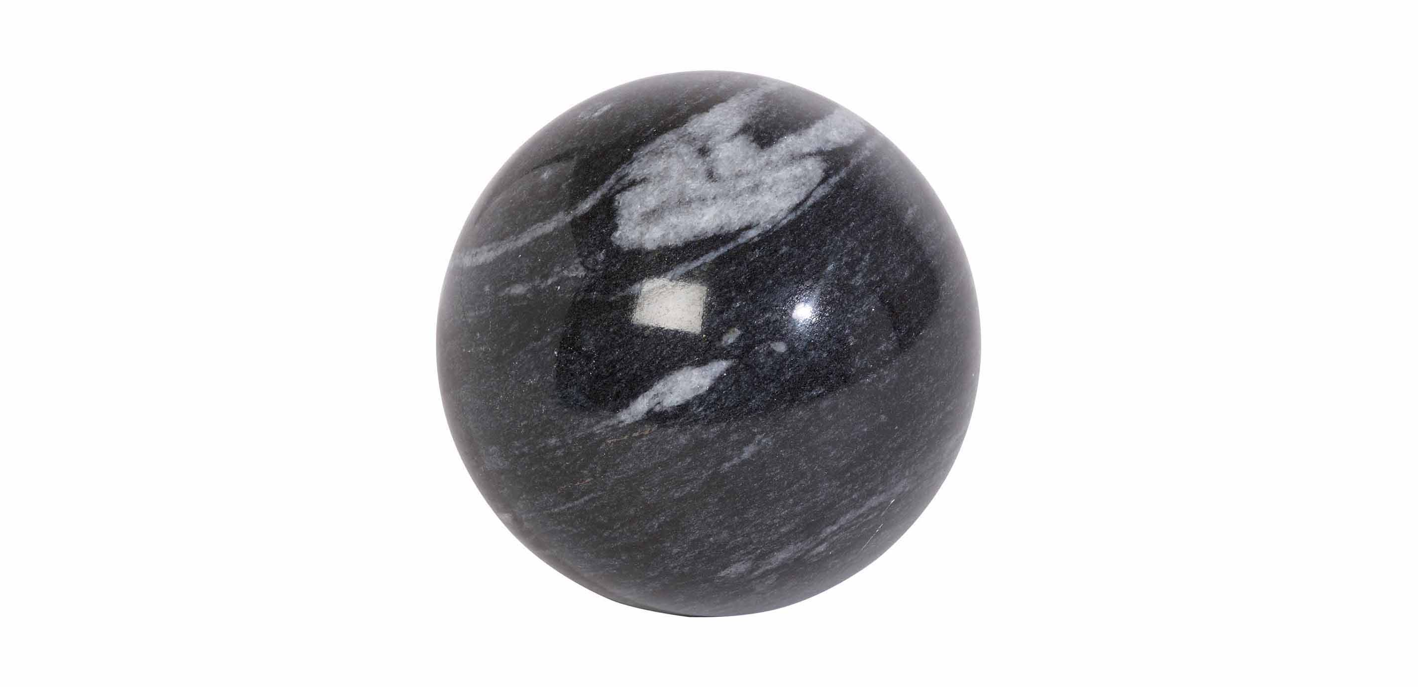 Black Stone Ball Decorative Objects
