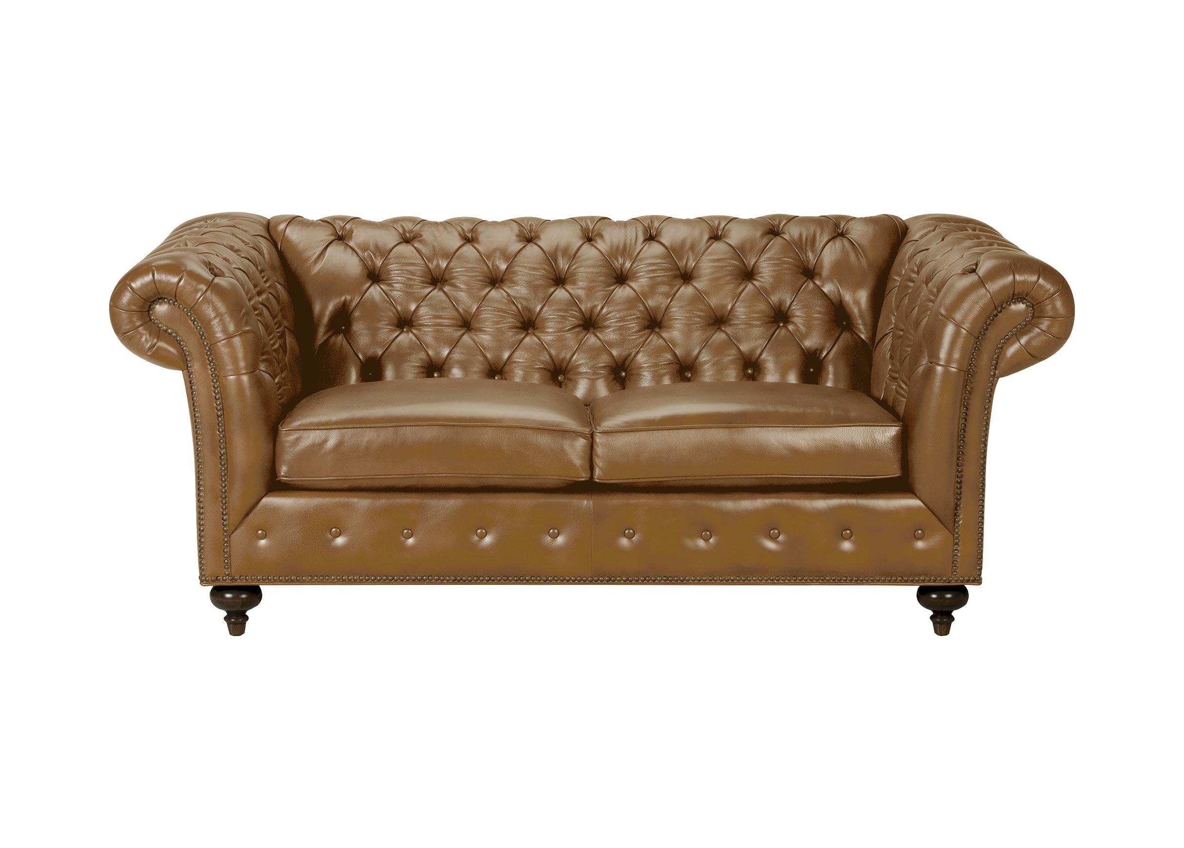 "Mansfield 77"" Leather Sofa Quick Ship Omni Camel"