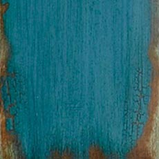 Aged Teal (304): Teal paint, highly worn edges show stained wood below, overall glazing, high sheen.