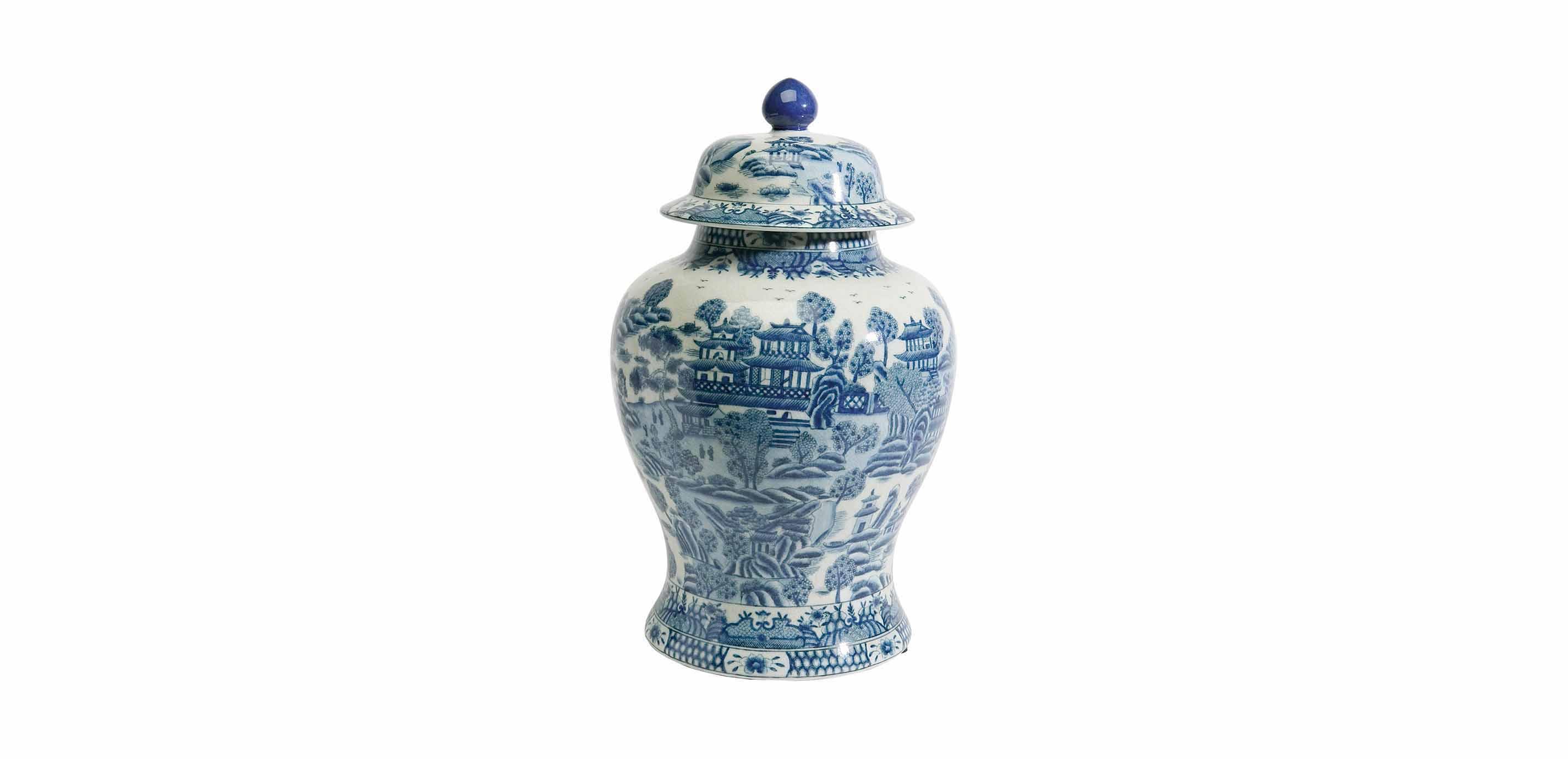 images large ginger jar with lid largegray - Ginger Jars