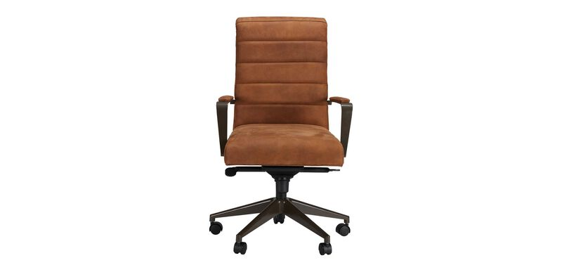 Slater Leather Channel-Back Desk Chair