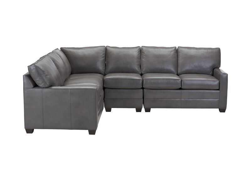 Bennett Track-Arm Four-Piece Leather Sectional, Quick Ship