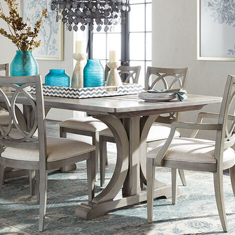 Corin Rough-Sawn Trestle Dining Table Product Tile Hover Image 356304