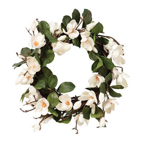 "24"" White Magnolia Wreath Product Tile Image 442200"