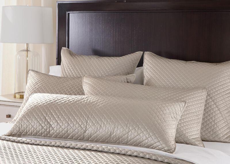 """Salena Quilted Lumbar Pillow 14"""" x 36"""", Taupe"""