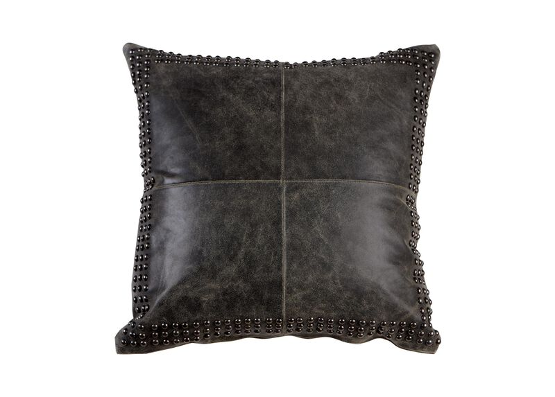 Black Worn Leather Pillow ,  , large_gray
