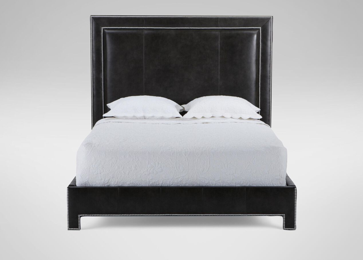 Jensen leather bed beds for Leather bedroom furniture