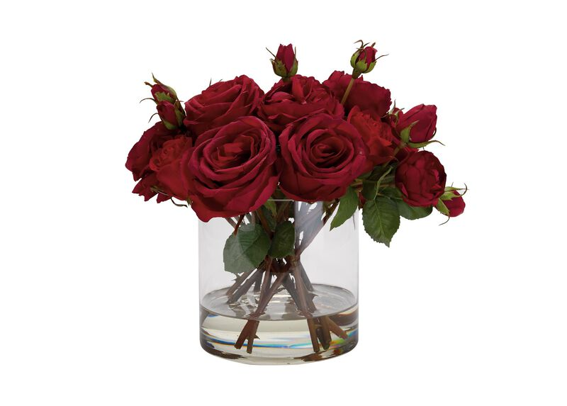 Mixed Red Roses in Glass