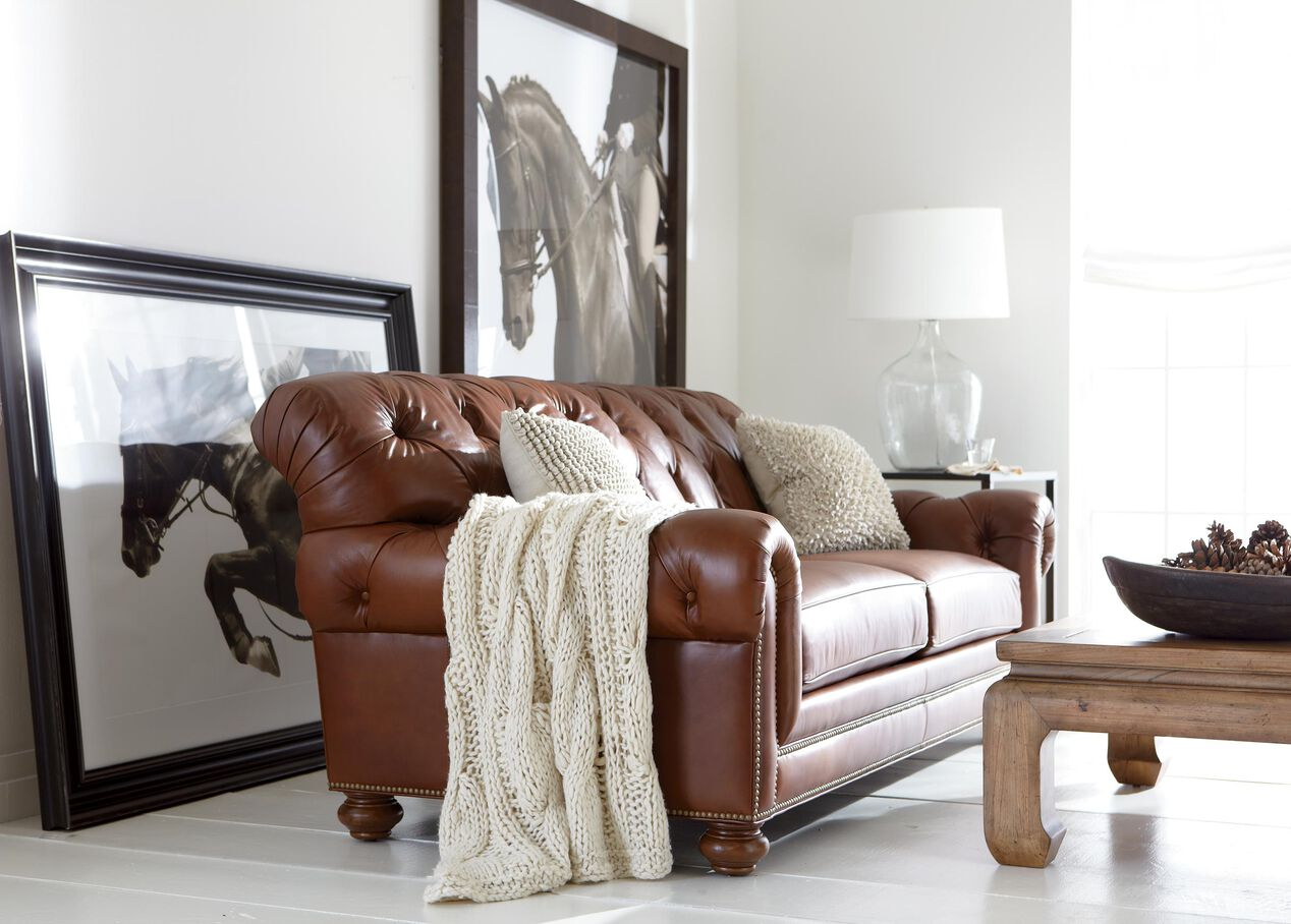 sofa ethan allen home leather mk couch pleasing