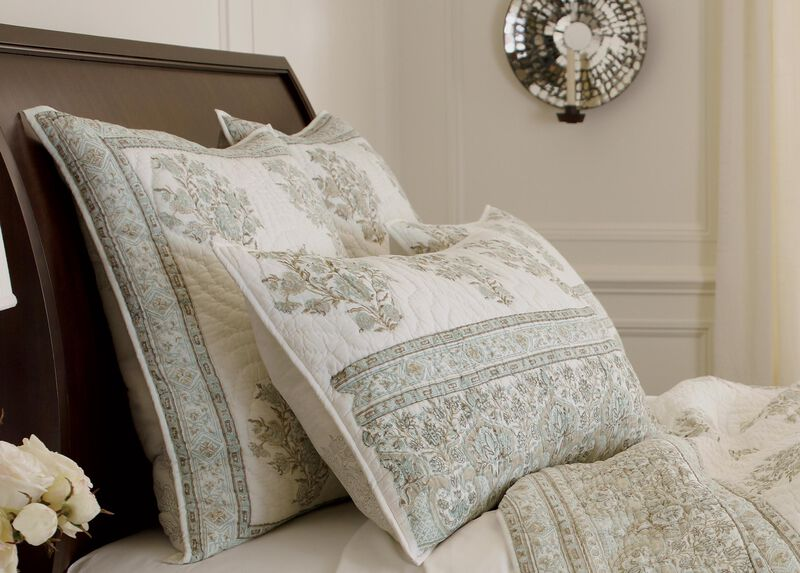 Hand-Blocked Quilted Sham, Mineral