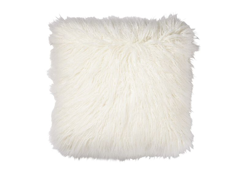 Faux Fur Pillow, Ivory | Tuggl