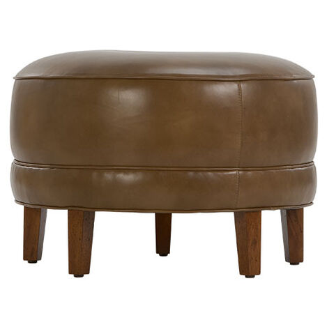 Nassau Round Leather Ottoman Product Tile Image NassauOttRdLth