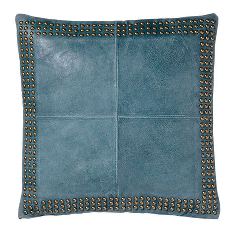 Worn Leather Pillow, Teal Product Tile Image 065705