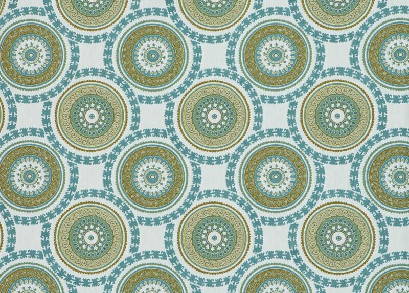 Suzani Aqua Fabric by the Yard